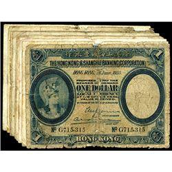 Hong Kong and Shanghai Banking Corporation. Group of Dollar notes.