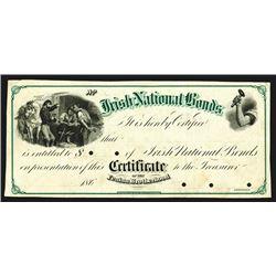 Certificate for Irish National Bonds for the Fenian Brotherhood Specimen. 186x.