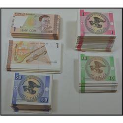 Kyrgyz Republic 1993 Issue; Kyrgyz Bank 1994, 1999 Issue.