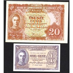 Board of Commissioners of Currency, Malaya 1941 Issue.