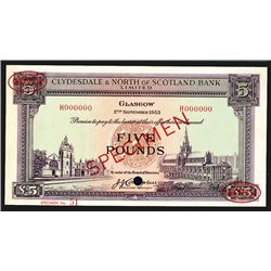 Clydesdale and North of Scotland Bank Limited. 5 Pounds. 1953. Specimen.