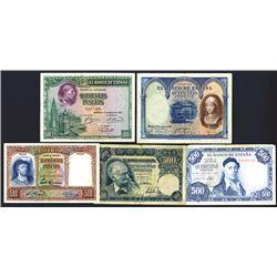 Banco de Espana. Nice group of 500 Peseta notes.