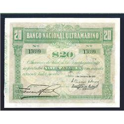 Banco Nacional Ultramarino, 1910 Issue Banknote.