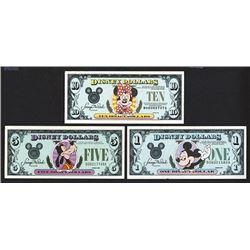Disney Dollars. 1988-1990. Group of 3.