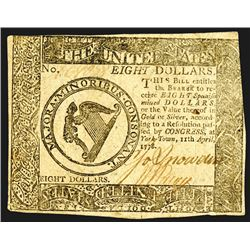 Continental Currency April 11, 1778 $8 XF to AU, Crisp.