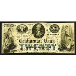 Continental Bank, $20, Sept. 10th, 1858.