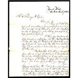 Francis E. Spinner  1846 Handwritten and Signed Letter from the Howard Hotel, NYC.
