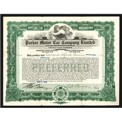 Parker Motor Car Company Limited Issued Shares. 1922.