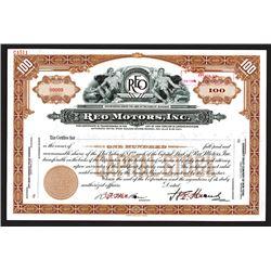 REO Motors, Inc., ND ca.1920-40's) Specimen Stock Certificate.