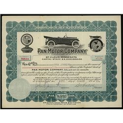 Pan Motor Co., 1919 Issued Stock Certificate.