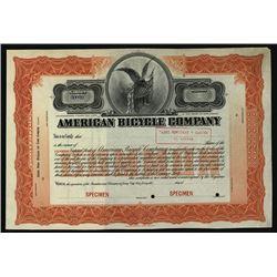 American Bicycle Co. 1902 Specimen Stock Certificate.