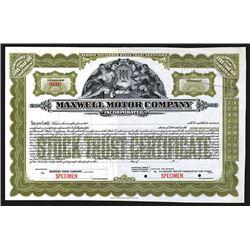 Maxwell Motor Corp., ND ca.1920's Specimen Stock Certificate.