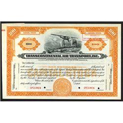 Transcontinental Air Transport, Inc. ca.1920-30 Specimen Stock Certificate.
