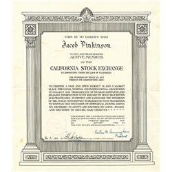 California Stock Exchange Unframed Membership Certificate.
