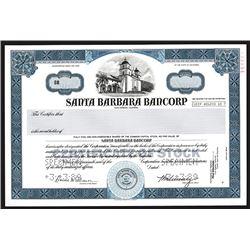 Santa Barbara Bancorp, 1989 Specimen Stock Certificate.