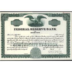 Federal Reserve Bank of Boston Specimen Stock.