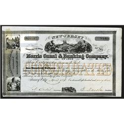 Morris Canal & Banking Co., 1863 Stock Certificate.