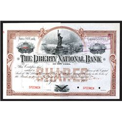 Liberty National Bank of New York Specimen Shares. CA 1920's.