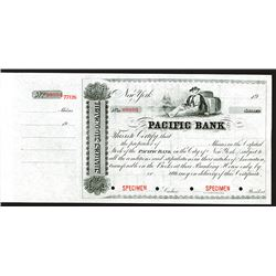 Pacific Bank, ca. 1900 but Printed on 1850-60's Form, Specimen Stock Certificate.