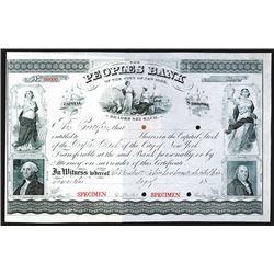 Peoples Bank of the City of New York, ca. 1860-70's, Specimen Stock Certificate.