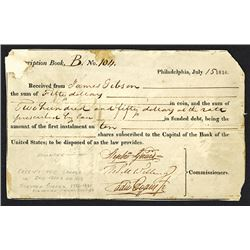 Second Bank of The United States First Installment on Shares. 1816. Signed by Stephen Girard.