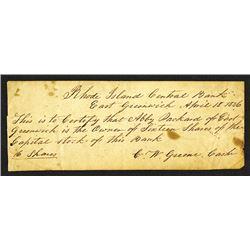 Early Rhode Island Bank Manuscript Share Certificate. 1836.