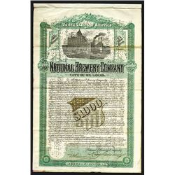 National Brewery Company Issued Bond. 1892. Serial Number 1.