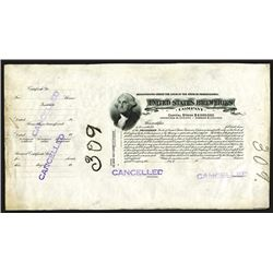 United States Breweries, ND ca.1900 Proof Stock Certificate.