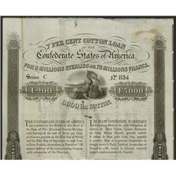 Confederate States of America 1863 7% Cotton Loan Issued Bond.