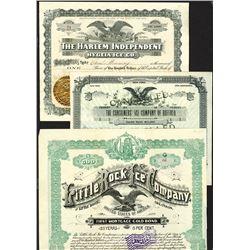 Ice Company Stock Certificate Trio