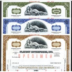 Playboy Enterprises, Inc., ca.1960-70's Specimen Stock certificate Trio.
