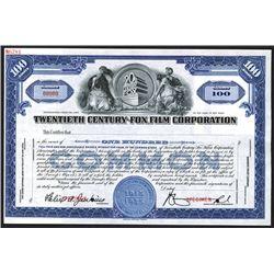 Twentieth Century-Fox Film Corp. ca. 1935 Specimen Stock Certificate.