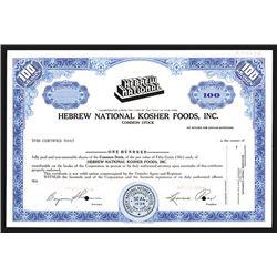 Hebrew National Kosher Foods, Inc. Specimen Share Certificate. CA 1940s.