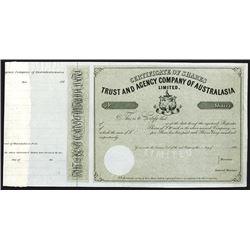 Trust and Agency Company of Australia 186x Specimen Stock Certificate.