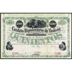 Credito Hipotecario De Bolivia, 1869 Issue, Specimen Bond.