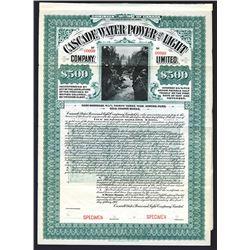 Cascade Water Power and Light. Specimen Bond. 1907.