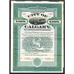 City of Calgary, Province of Alberta. Specimen Bond. 1908.