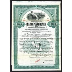 City of Vancouver in the Province of British Columbia. Specimen Bond. 1907.
