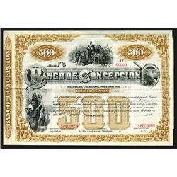 Banco De Concepcion ca.1880's Specimen Bond.