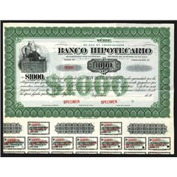 Banco Hipotecario 1900-1910 Specimen Bond.