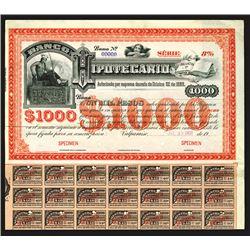 Banco Hipotecario De Chile, ca.1900 Specimen Bond.