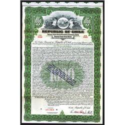 Republic of Chile 1922 Specimen Bond Reissued in 1938.