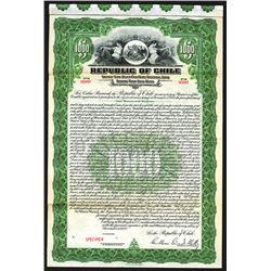 Republic of Chile 1922 Specimen Bond.