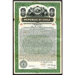 Republic of Chile 1928 Specimen Bond.