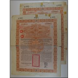 Chinese Imperial Government 4-1/2% 1898 Kaiserlich Bonds. £100 Bond Pair.