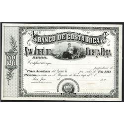 Banco De Costa Rica, ca.1870-1880 Proof Stock Certificate.