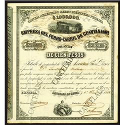 Empressa Del Ferro-Carril De Guantanamo, 1882 Issued Bond.