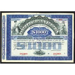 Banco Comercial Y Agricola, 1890-1900 Specimen Bond.