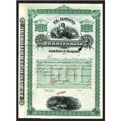 El Banco Territorial Specimen Bond. CA 1880s.