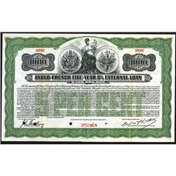Anglo-French Five-Year 5% External Loan Specimen Bond.